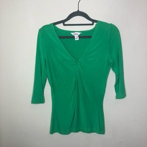 Lilly Pulitzer White Label Green Twist Front Top